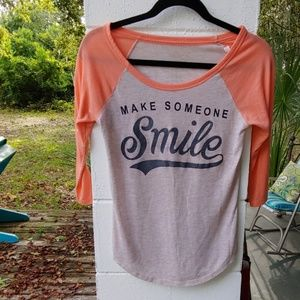 American Eagle baseball Make Someone SMILE shirt